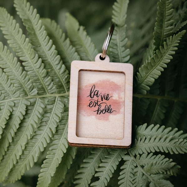 sleutelhanger quote hout